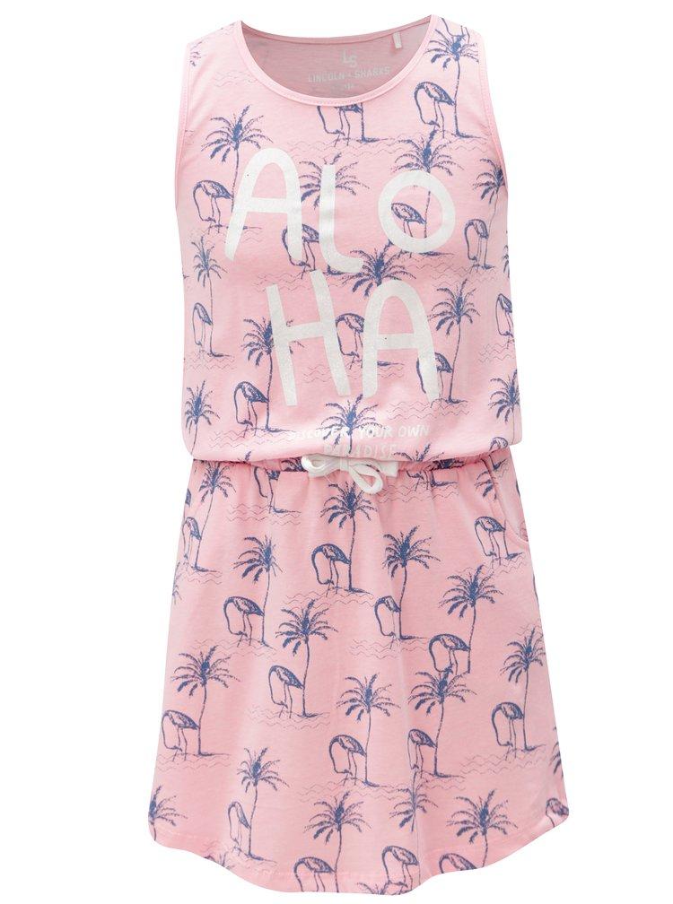 Růžové holčičí vzorované šaty s kapsami 5.10.15.