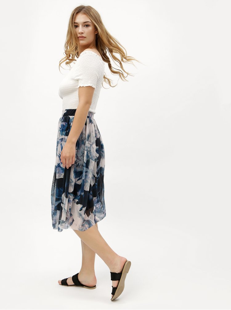 Krémovo-modrá květovaná sukně VERO MODA Lago