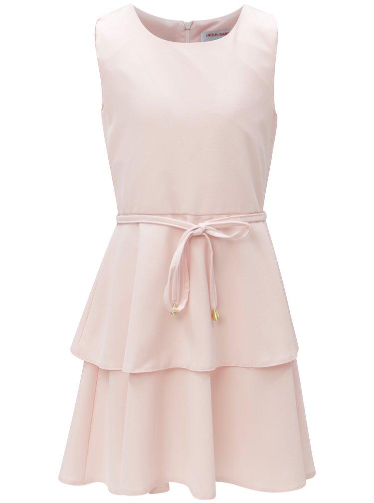 Růžové šaty s páskem na zavazování 5.10.15.