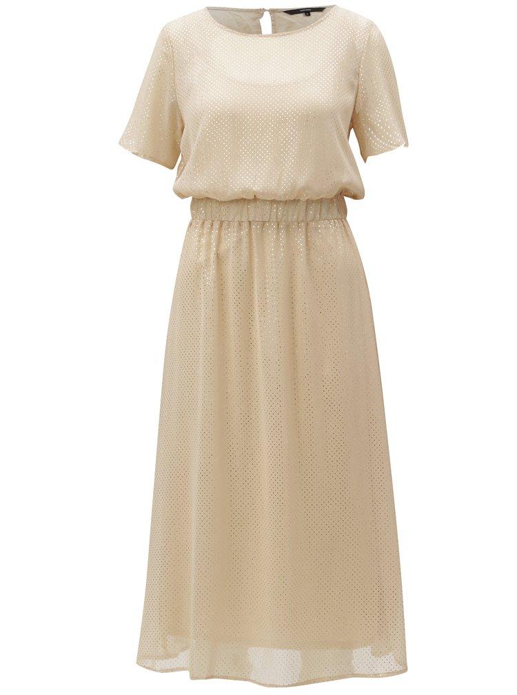 Béžové puntíkované šaty VERO MODA Silvia