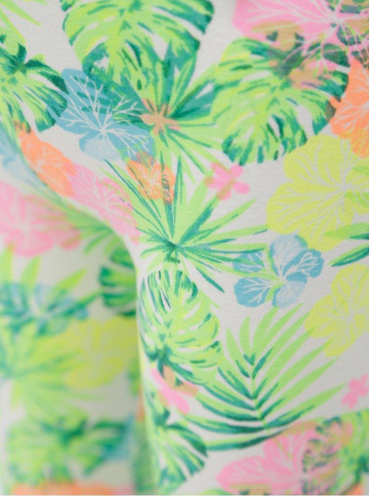 Bílo-zelené holčičí květované 3/4 legíny 5.10.15.