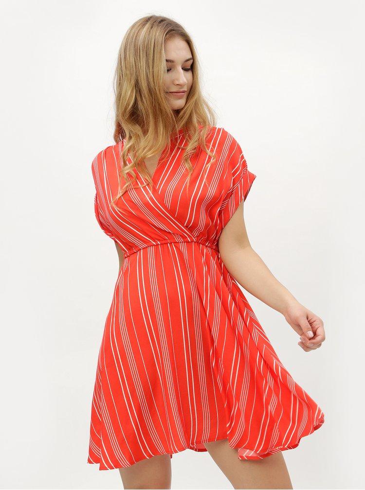 Červené pruhované šaty s překládaným výstřihem VERO MODA Laura