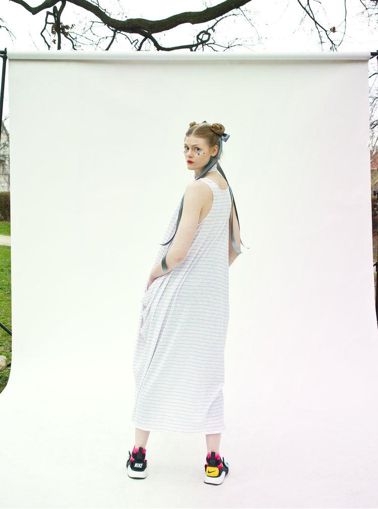 Bílo-béžové pruhované maxišaty La femme MiMi