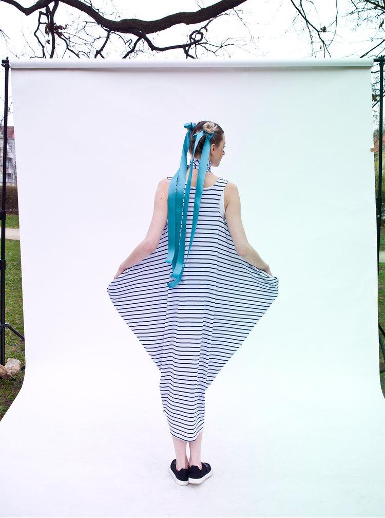 Bílo-modré pruhované maxišaty La femme MiMi