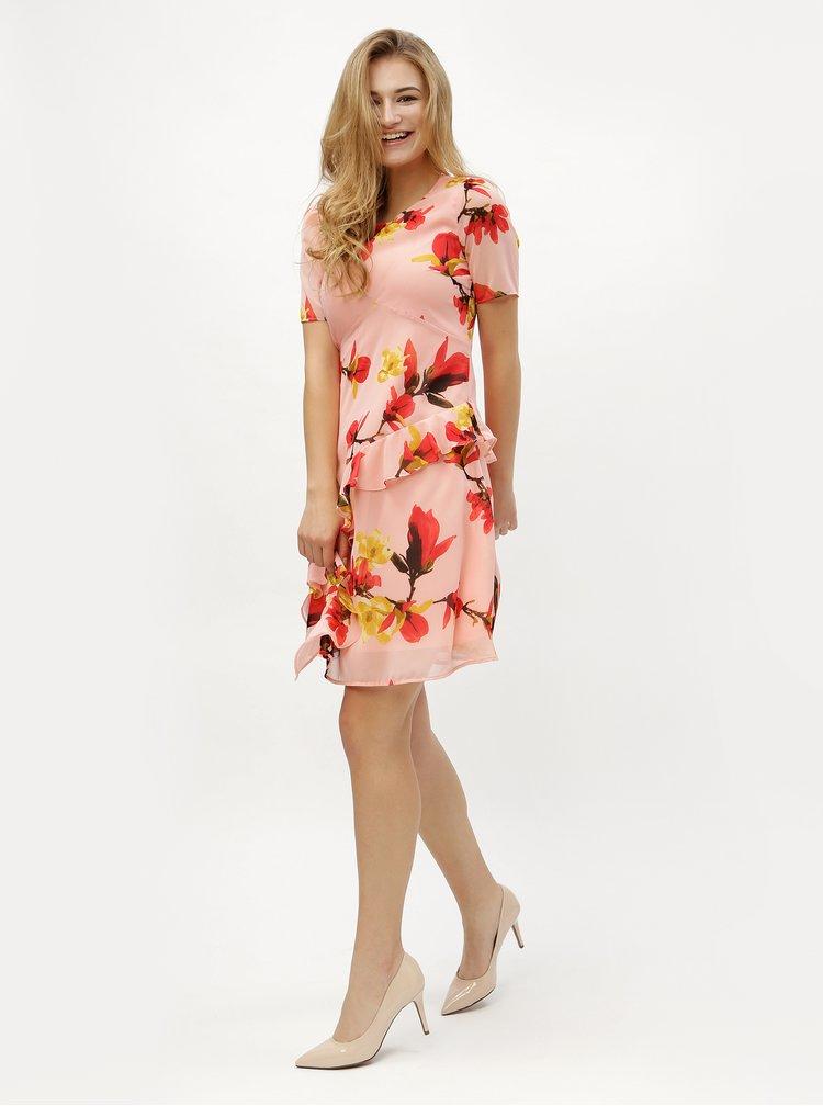 Růžové květované šaty s volánem VERO MODA Katy