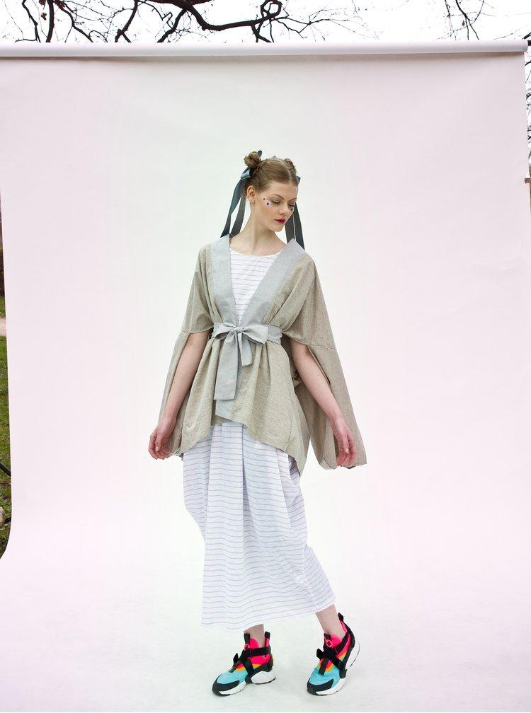 Béžové kimono s nášivkou na zádech La femme MiMi