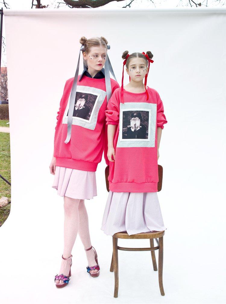 Růžová mikina s potiskem La femme MiMi Teta Věra