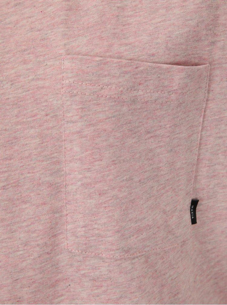 Růžové dámské basic tričko s krátkým rukávem Makia Dusk