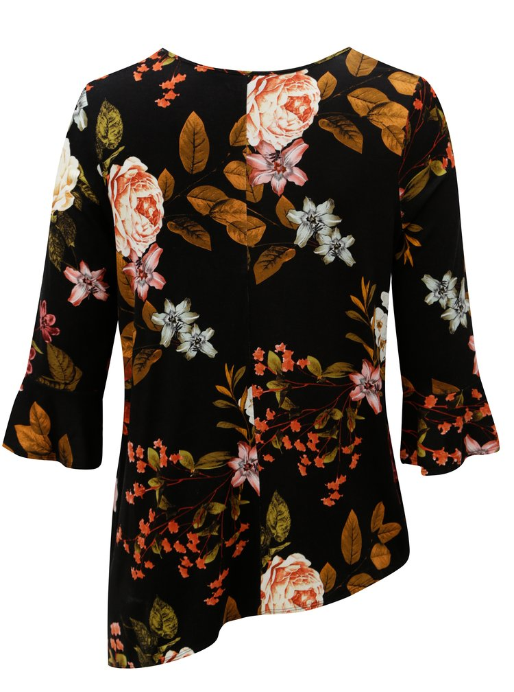 Bluza neagra asimetrica cu model floral Dorothy Perkins Curve