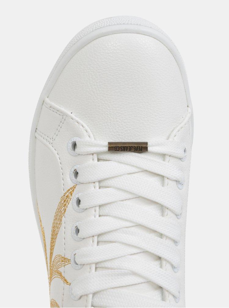 Bílé dámské tenisky s výšivkou Pepe Jeans Broompton Embroidery