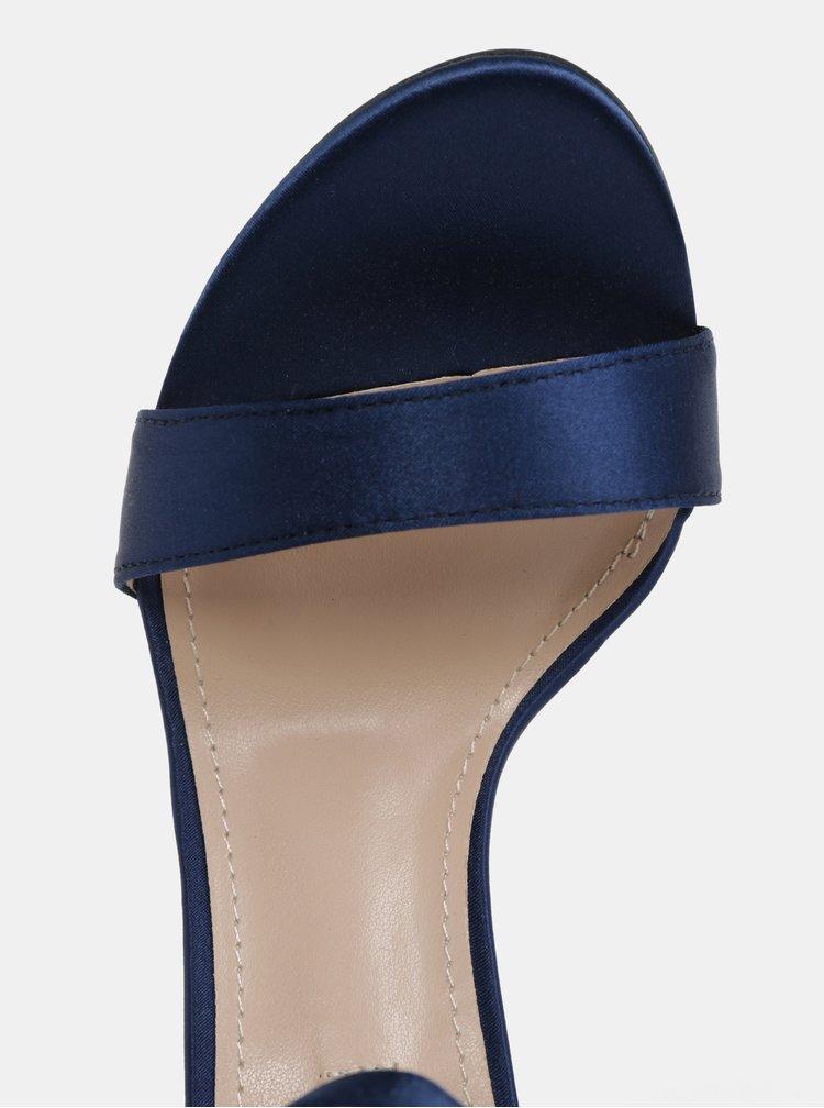 Sandale albastre cu toc si aplicatie decorativa pe calcai Dorothy Perkins