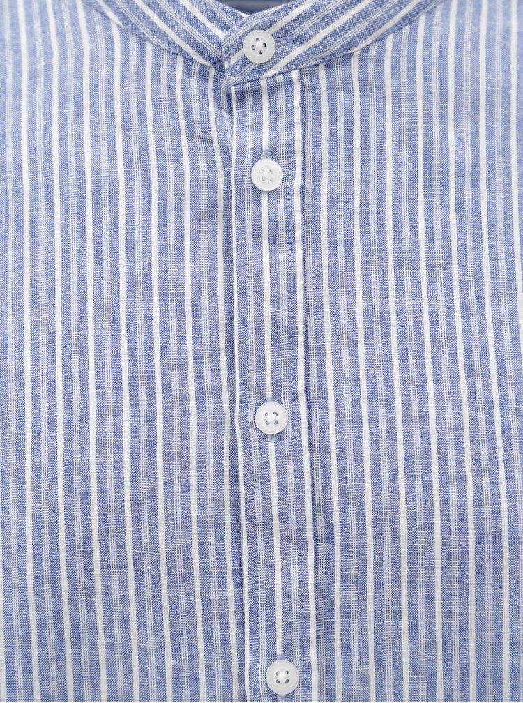 Modrá pruhovaná regular fit košile bez límečku Casual Friday by Blend