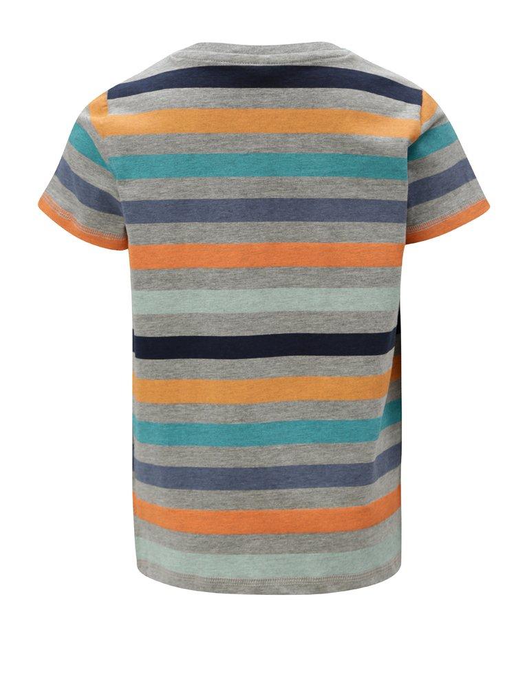 Šedé klučičí pruhované tričko s knoflíky name it Jeppe