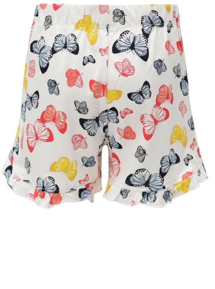 Bílé holčičí kraťasy s motivem motýlů name it Vigga