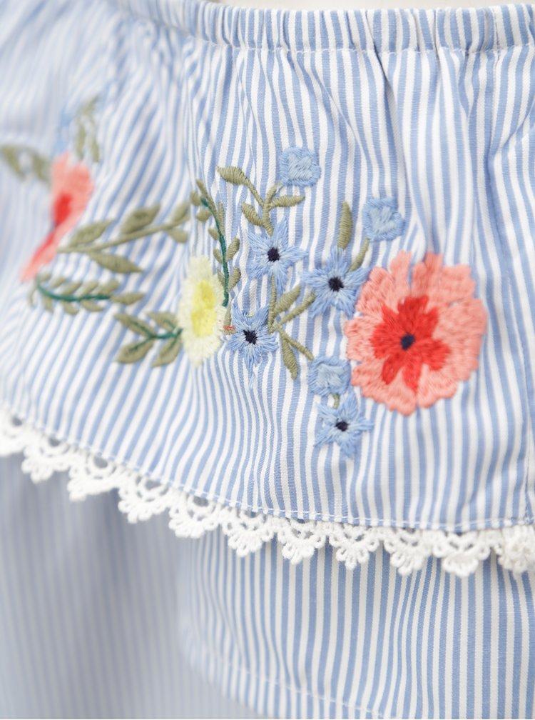 Bílo-modrá halenka s odhalenými rameny Dorothy Perkins Petite