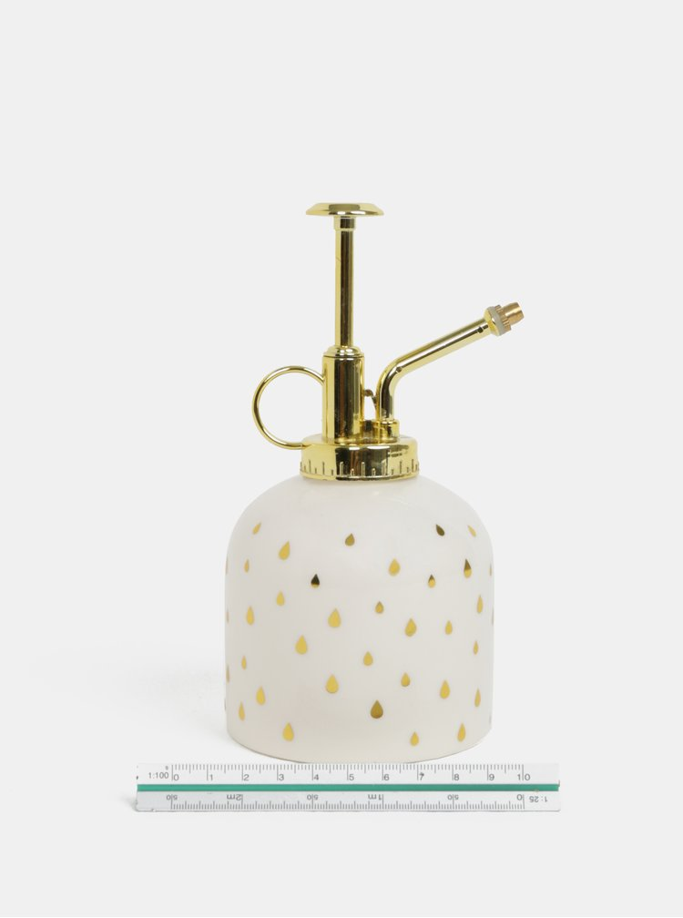 Krémový rozprašovač na květiny s detaily ve zlaté barvě Sass&Belle Metallic Monochrome Keep Growing