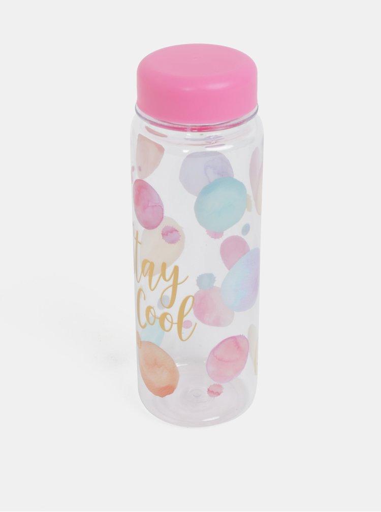 Růžová láhev s potiskem Sass & Belle Paint Splash Clear