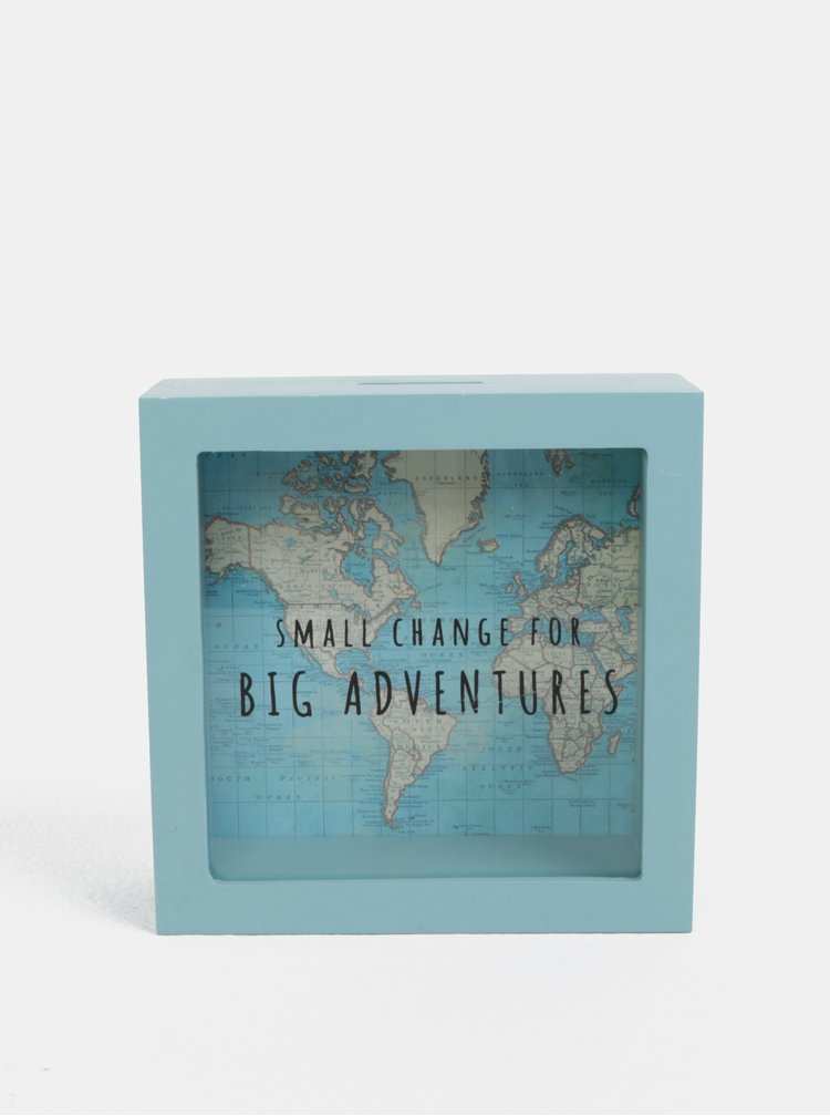 Mentolová kasička s motívom mapy sveta Sass & Belle Vintage Map Big Adventures