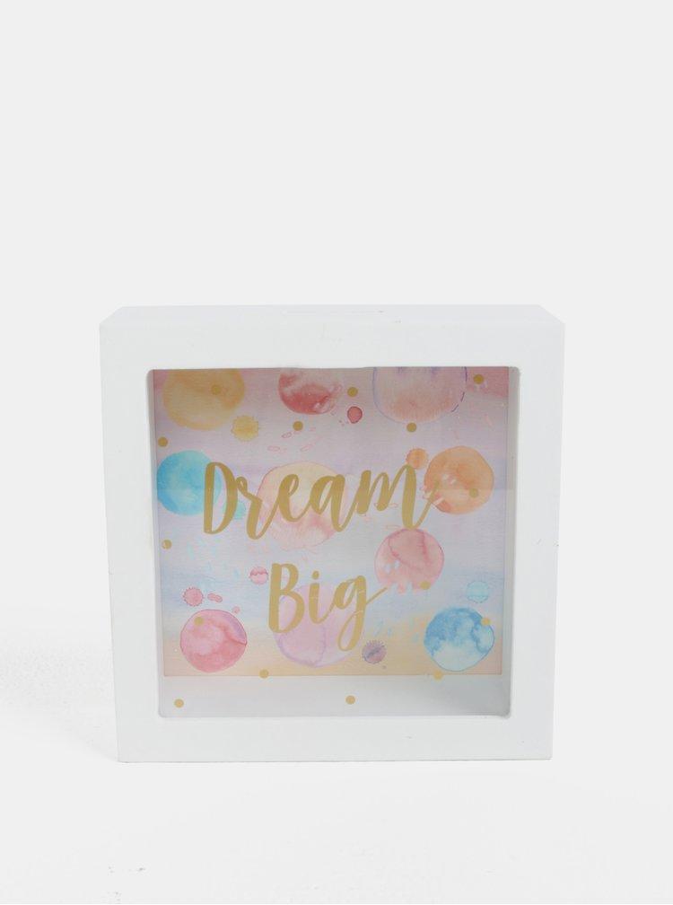 Bílá kasička s motivem bublinek Sass & Belle Dream Big Paint Splash