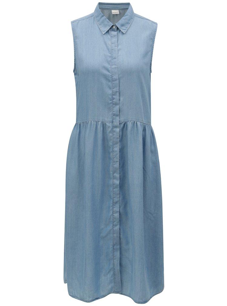 Světle modré košilové šaty bez rukávů Selected Femme Chloe