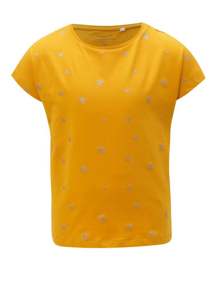 Hořčicové holčičí vzorované tričko name it Vilske