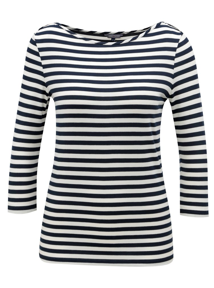 Bílo-modré dámské pruhované tričko s 3/4 rukávem Tommy Hilfiger