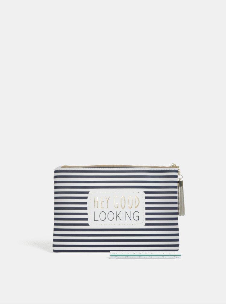 Bílo-modrá pruhovaná kosmetická taška s potiskem CGB
