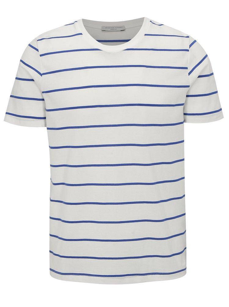 Bílé pruhované tričko Selected Homme The Perfect