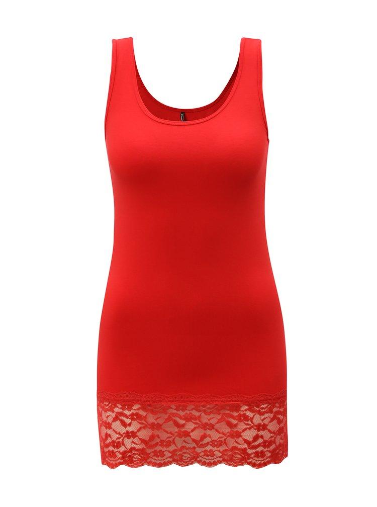 Červené tílko s krajkou ONLY Long Lace