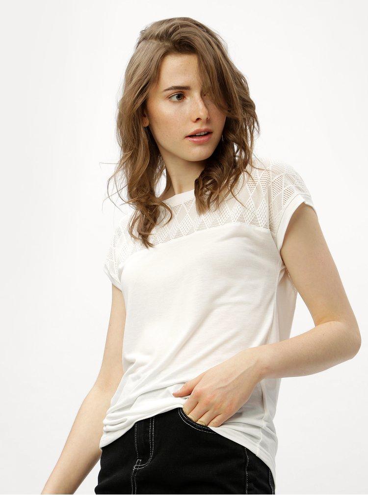 Krémové tričko se síťovaným sedlem a zádami Jacqueline de Yong Renee