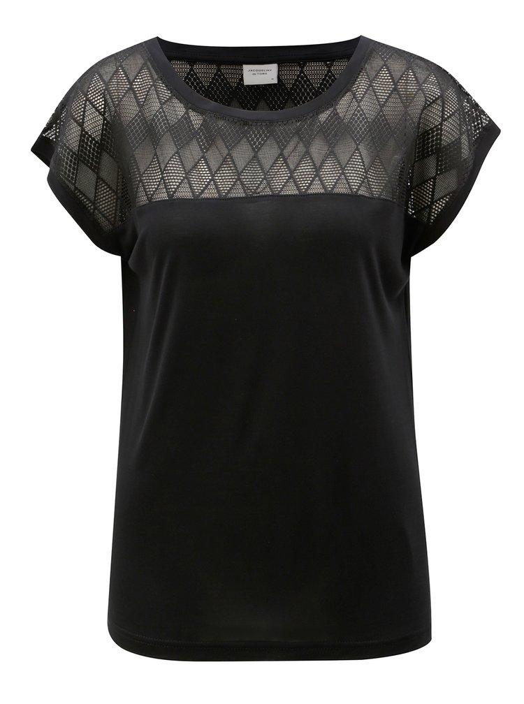 Tricou negru cu plasa in partea de sus Jacqueline de Yong Renee