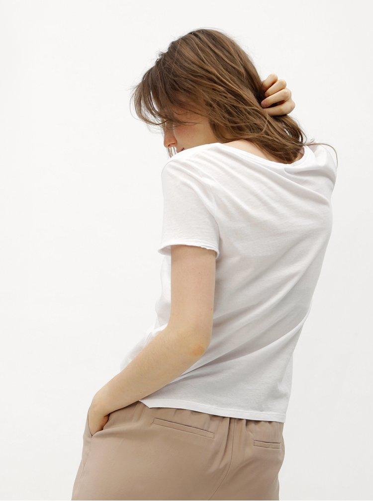 Bílé tričko s modrým potiskem ONLY Happy love
