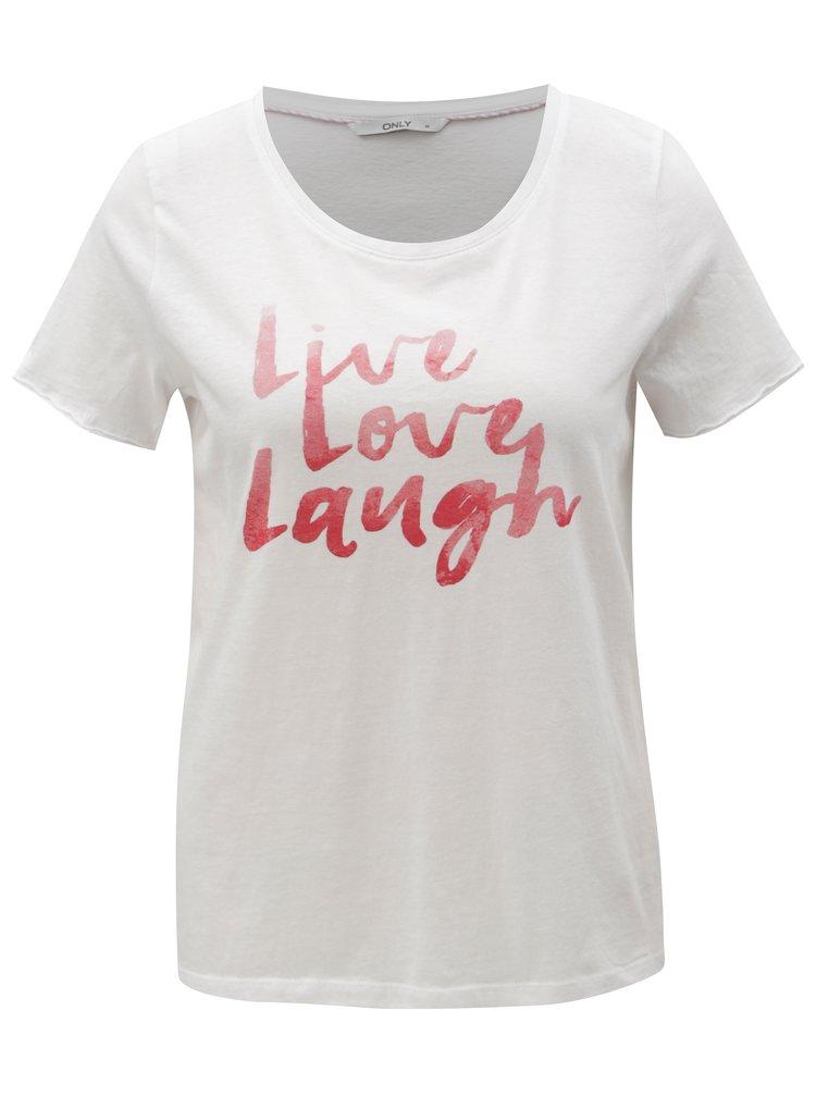 Bílé tričko s červeným potiskem ONLY Happy love