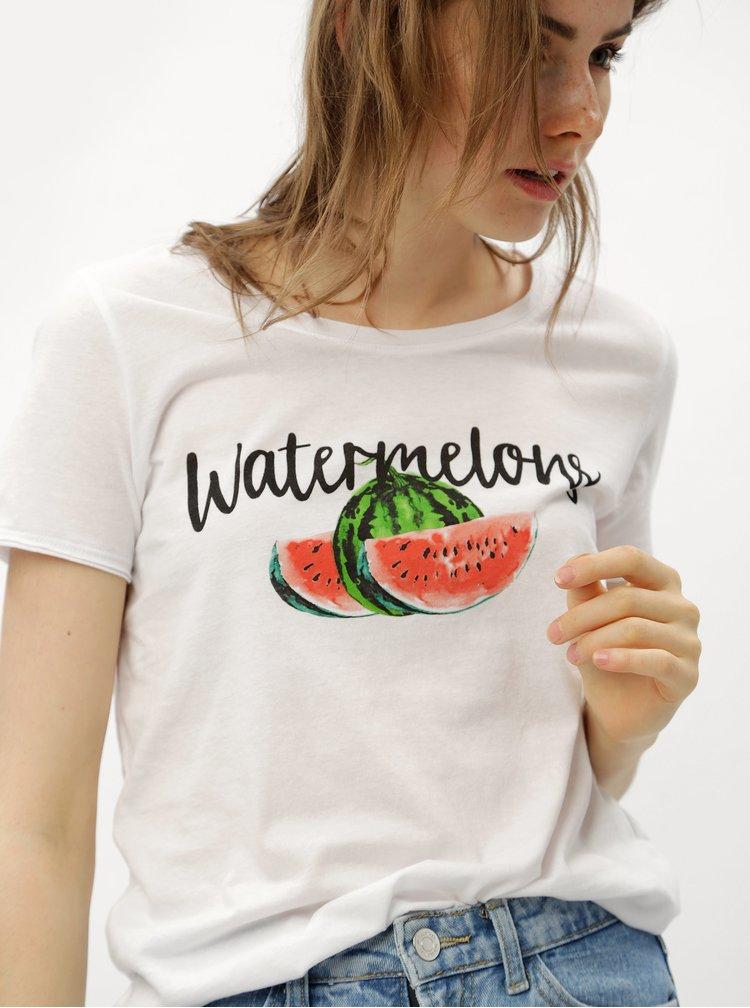 Tricou alb cu print de pepeni ONLY Happy love