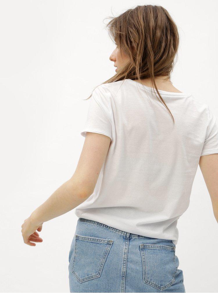 Bílé tričko s potiskem melounu ONLY Happy love