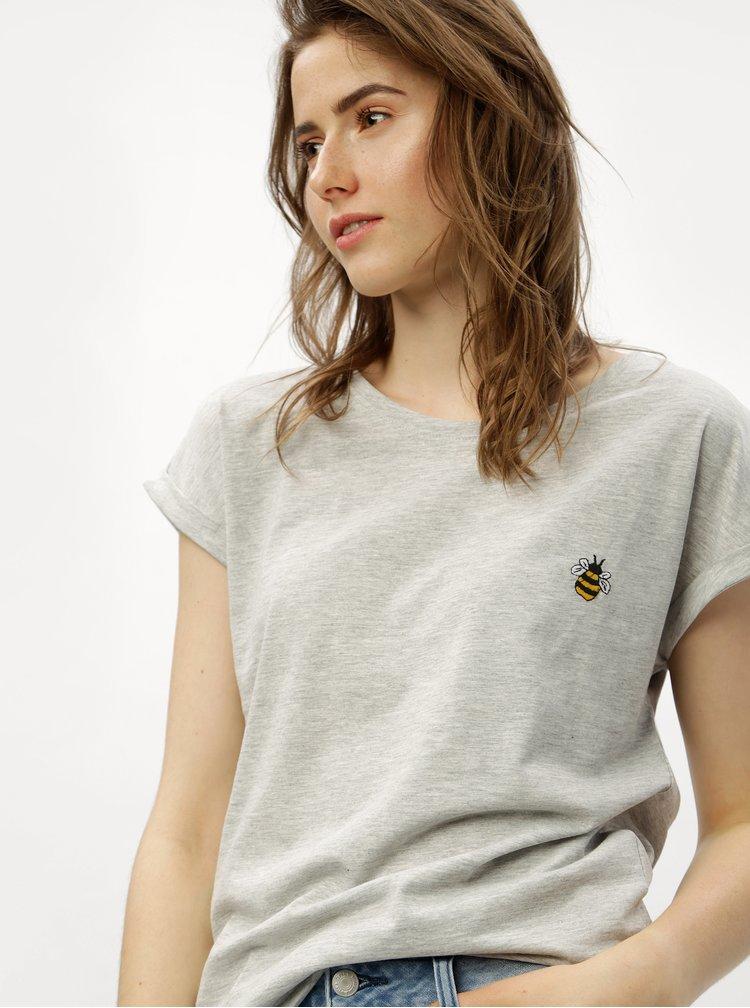 Šedé tričko s výšivkou včely ONLY Minna