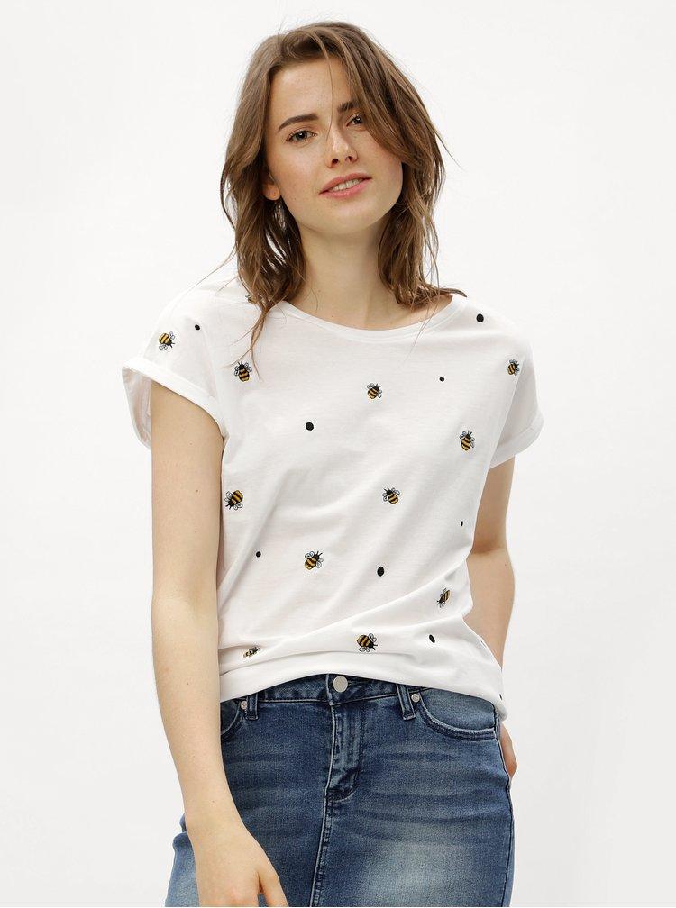 Bílé tričko s výšivkami včel ONLY Minna