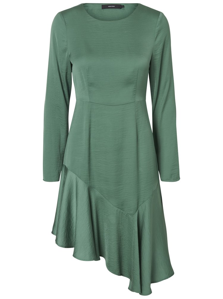 Zelené asymetrické šaty s dlhým rukávom VERO MODA Elsa