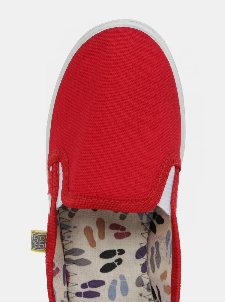 Pantofi de dama slip-on rosii cu model Oldcom Mixt