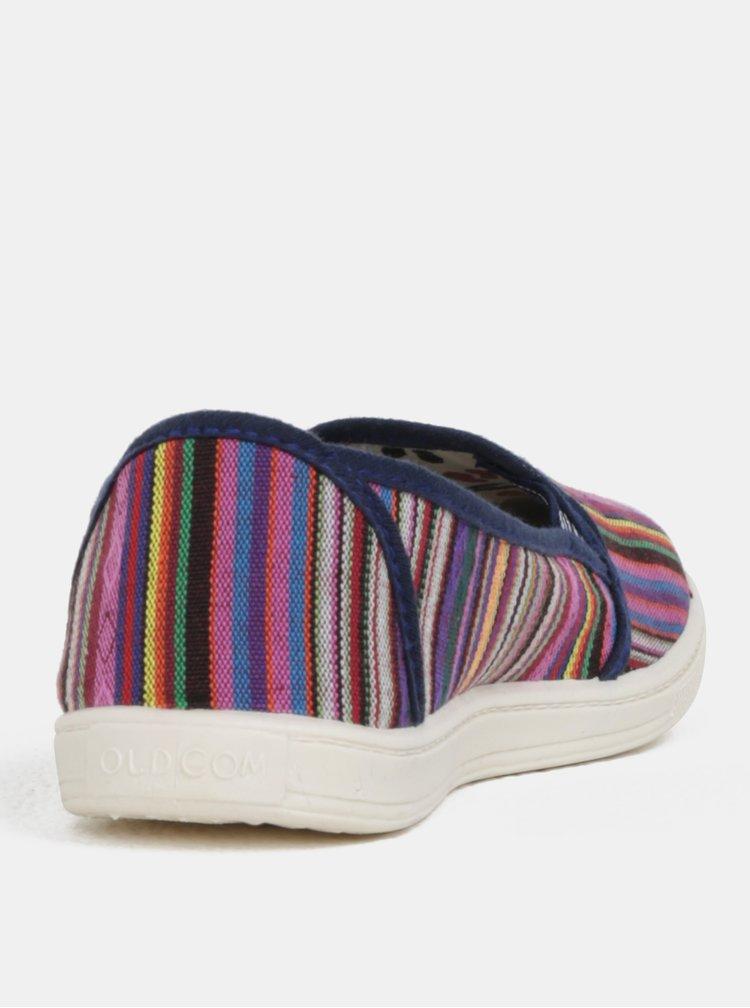 Pantofi de dama slip-on albastri cu model Oldcom Etno Stylish