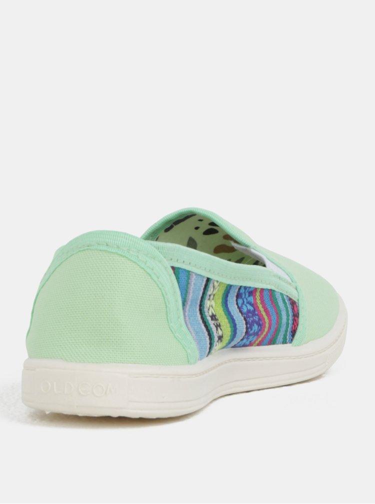 Pantofi de dama slip-on verde cu model Oldcom Mixt