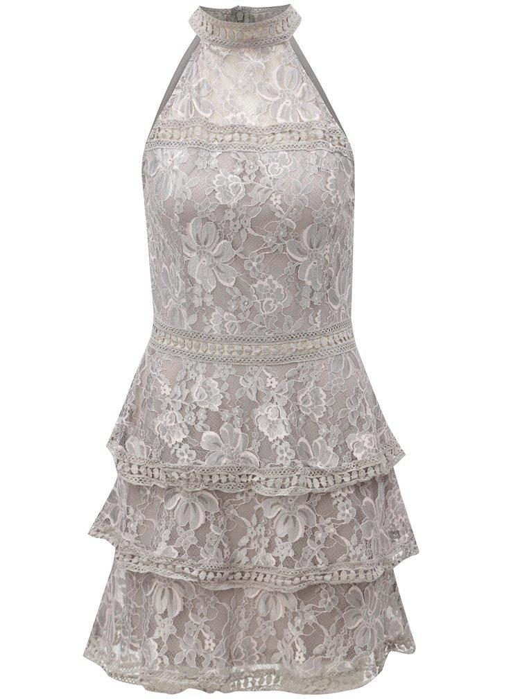 Světle šedé květované šaty AX Paris