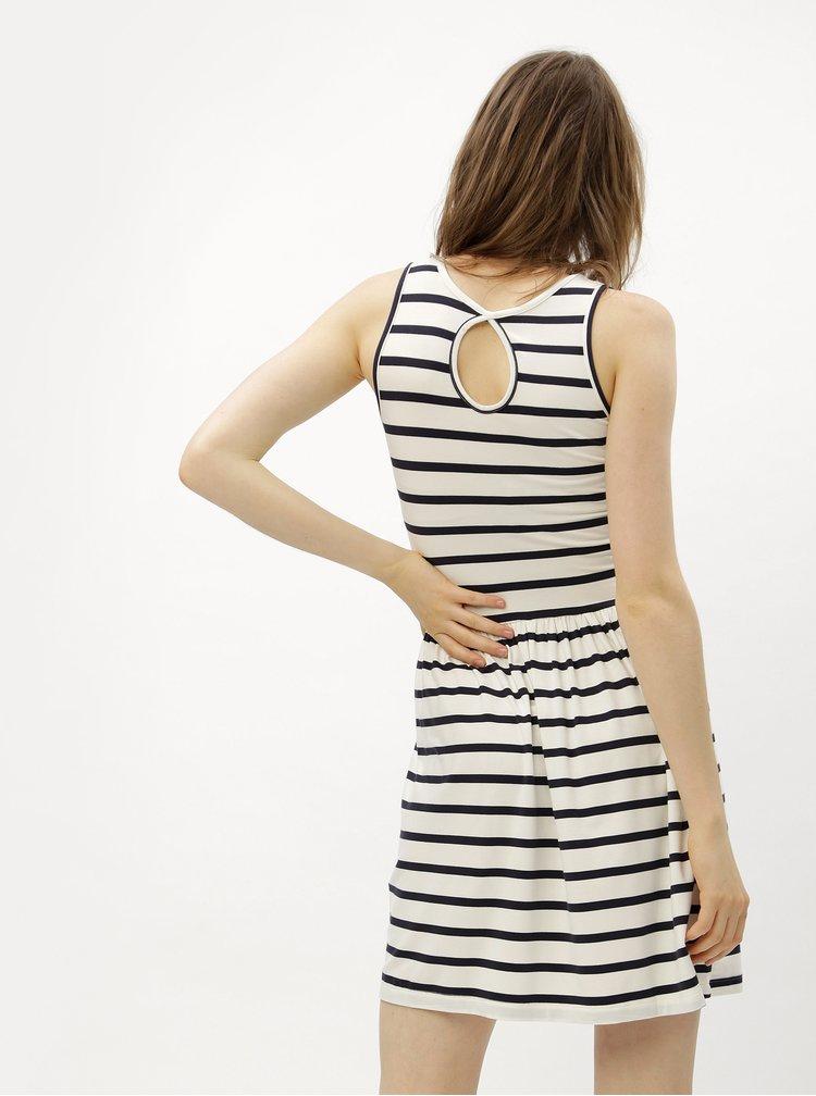 Bílo-modré pruhované šaty s průstřihem na zádech ONLY Rina