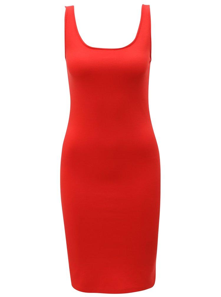 Červené pouzdrové šaty s rozparkem ONLY Brenda
