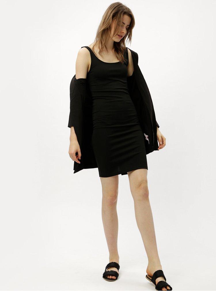 Černé pouzdrové šaty s rozparkem ONLY Brenda