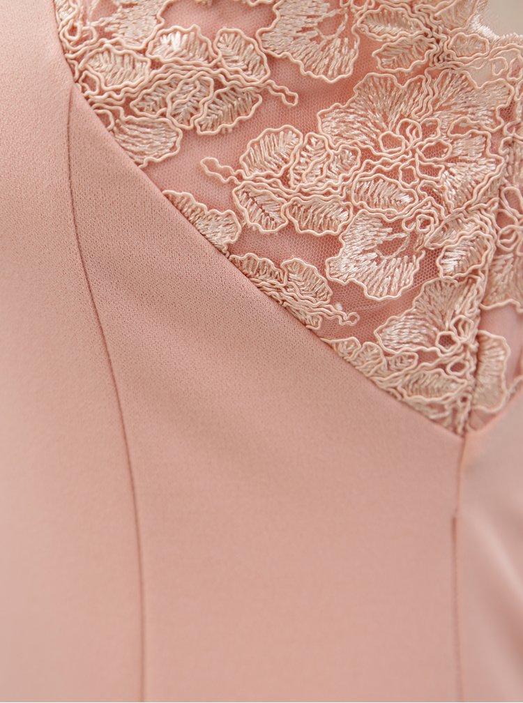 Světle růžové maxišaty s krajkou a rozparkem AX Paris