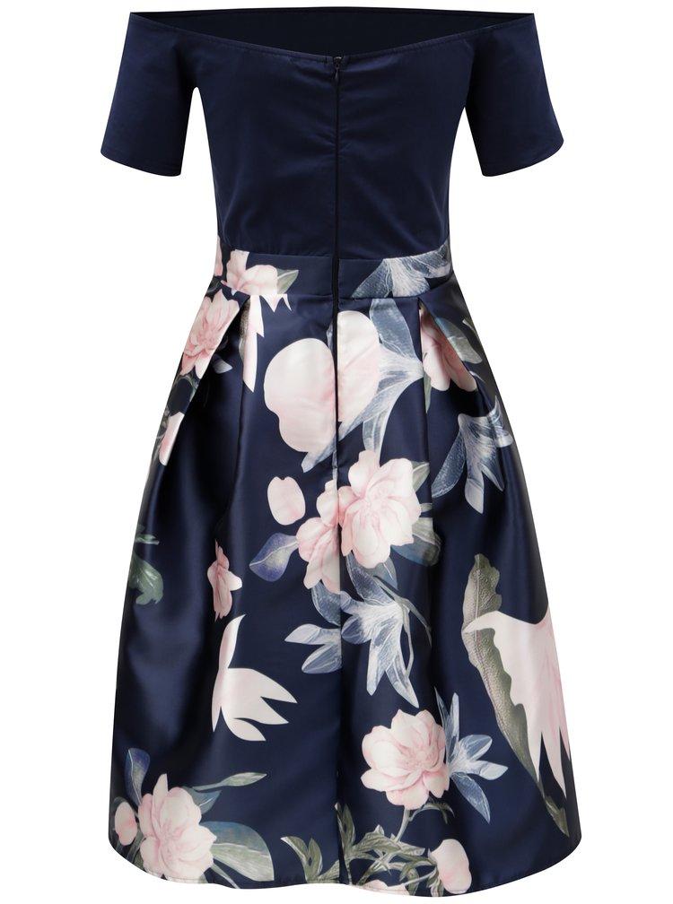 Rochie albastru inchis cu fusta cu model floral AX Paris