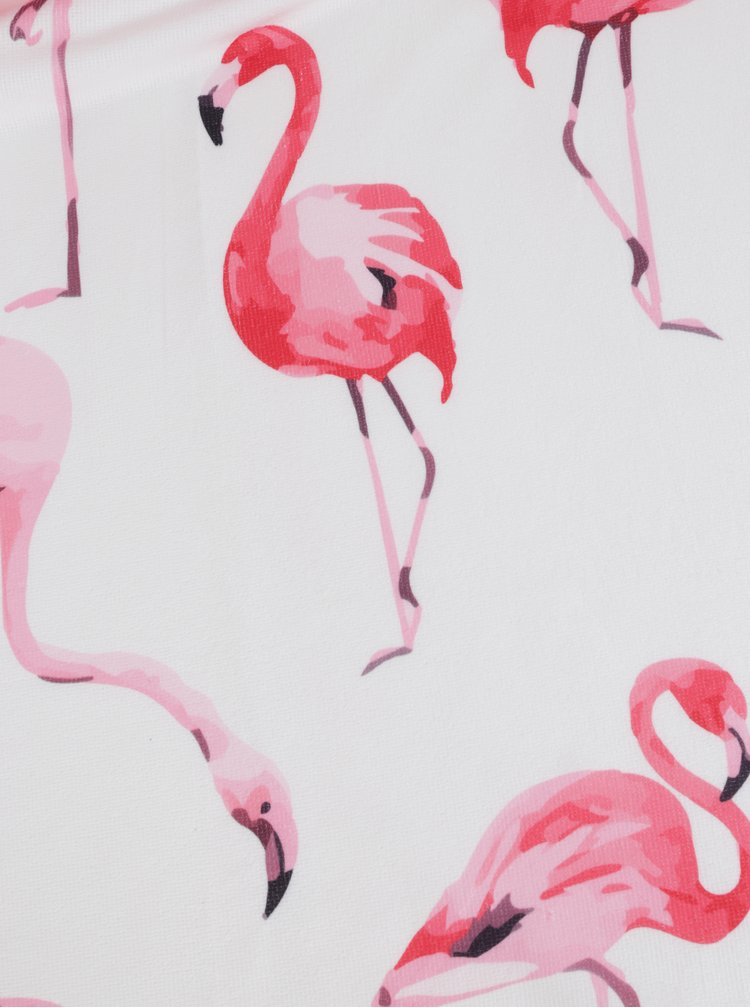 Růžovo-bílá kulatá plážová deka s motivem plameňáků ZOOT