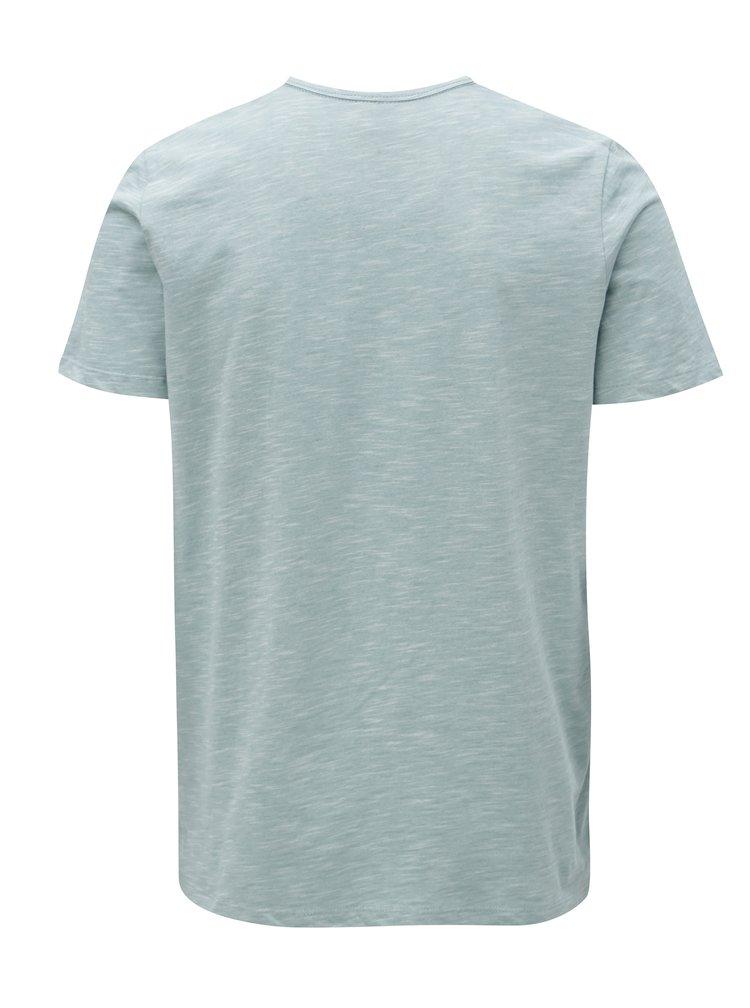 Světle modré žíhané tričko s potiskem Jack & Jones Phil-Burke