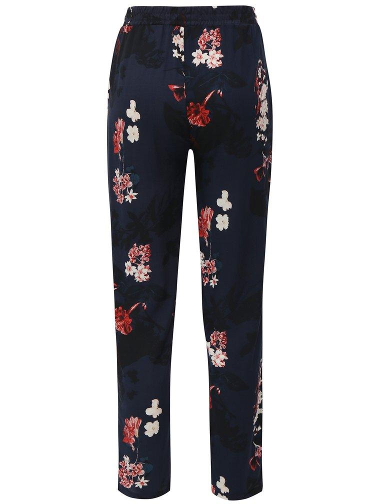Tmavomodré voľné kvetované nohavice s vysokým pásom Haily's Ricky